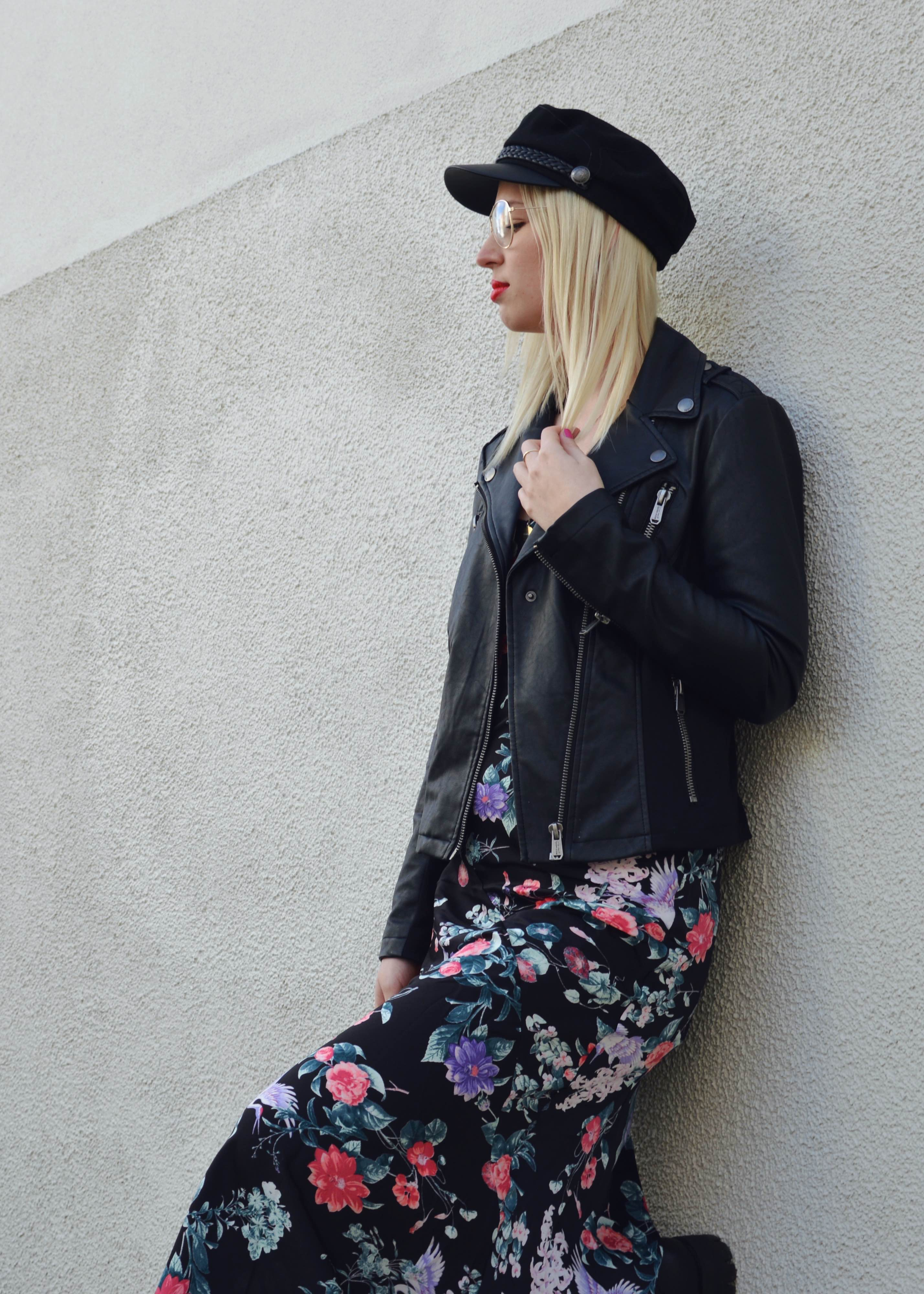 Flowerdress and Bikerjacket17