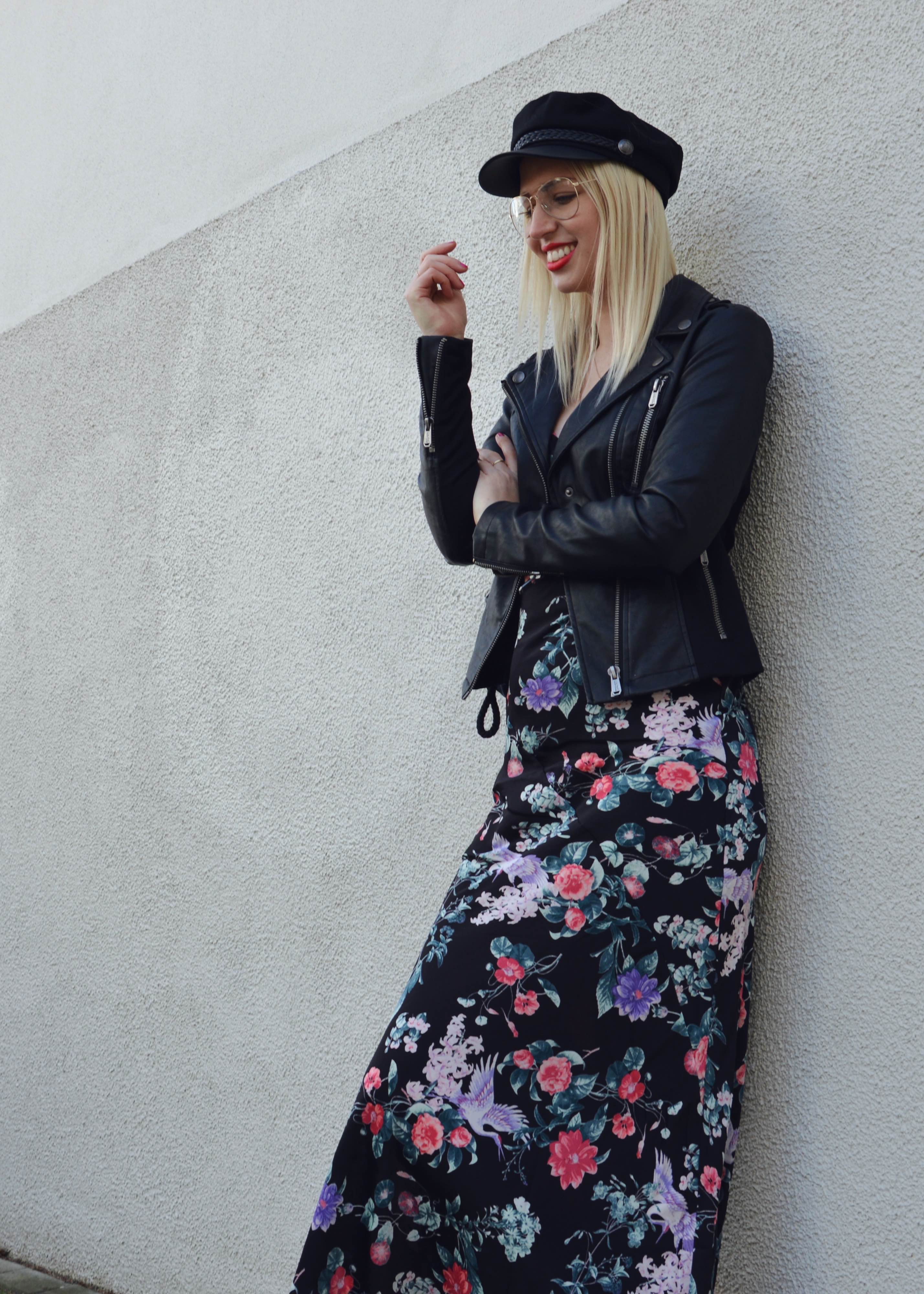 Flowerdress and Bikerjacket21